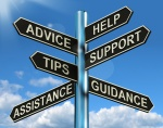 Advice Help Support And Tips Signpost Showing Information And Guidance
